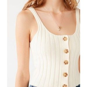 Urban Outfitters Tyra Ribbed Sweater Tank in White